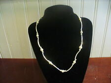 """Vintage LBVYR Faux Pearl & Silvertone Metal Curved Tube Bead 20""""  Necklace"""