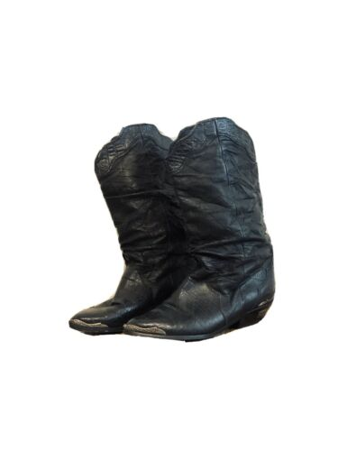 VINTAGE 80s ZODIAC LEATHER SLOUCHY COWBOY BOOTS 6
