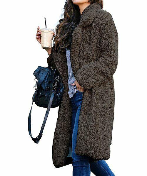 GYK Gray Notched-Collar Faux Fur Coat 2XL gray NEW