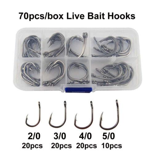 70pc 10827Stainless Steel Live Bait Fishing Hook Set Black Nickle Saltwater Hook