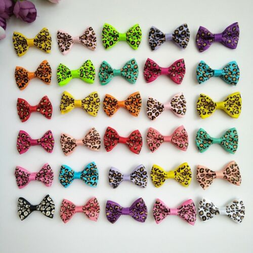 10pcs Leopard grain Bow Hair Alligator Clips Girls Ribbon Kids Sides accessories