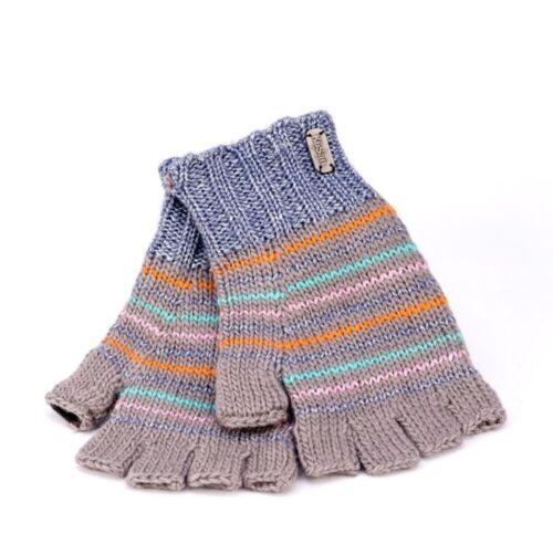 Kusan 100/% Wool /& Metallic Stripe Fingerless Gloves PK1807