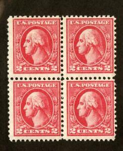 US-Stamps-528B-2c-Washington-Block-F-OG-N
