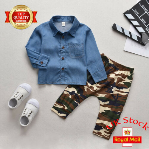 Toddler Baby Kids Boys Denim T-Shirt Tops Camo Pants Casual Outfits Clothes Set