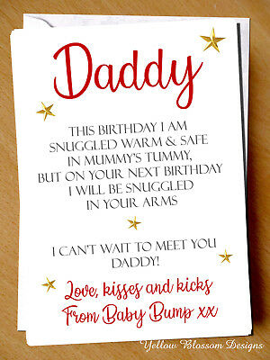Details About Daddy To Be Love From Baby Bump 1st Birthday Card Poem Dad Father Pregnant Cute