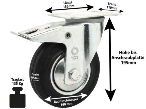 4 x Vollgummi Lenkrolle Transportrolle Schwerlastrolle Rolle Ø 160 mm Bock-Brems