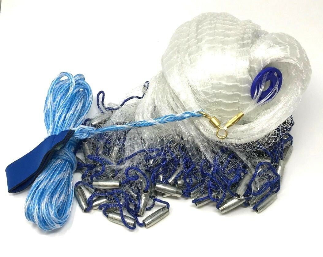 Gill Net Clear Wire bluee Grip With Safety Leg Graps New Free Shipping