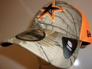 New-Era-39Thirty-Dallas-Cowboys-Cap-Hat-Men-039-s-L-XL-flex-fit-mesh-neo-orange-camo