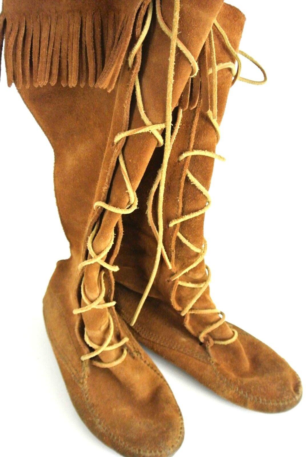 Minnetonka Mocasín Mocasín Mocasín Con Cordones Gamuza de la rodilla botas altas talla 8 con flecos marrón Hippie  respuestas rápidas