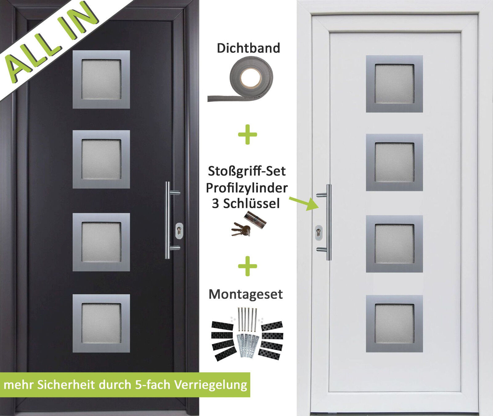 Kuporta Kunststoff HAUSTÜR anthrazit   weiß Nebeneingangstür Kellertür Außentür