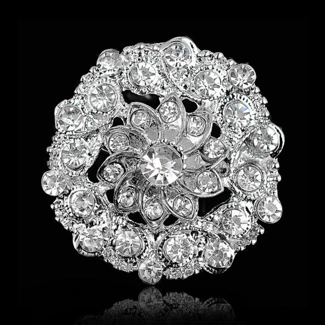 Wedding Bridal Party Round  Clear Rhinestone Crystal Silver  Bouquet Brooch Pin
