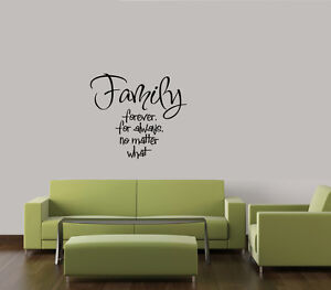 FAMILY FOREVER FOR ALWAYS VINYL WALL DECAL WORDS LETTERING QUOTE STICKER