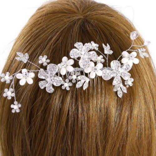 Brautschmuc matrimonio Capelli Gioielli Capelli Pettine fiori perle IVORY bianco cristallino