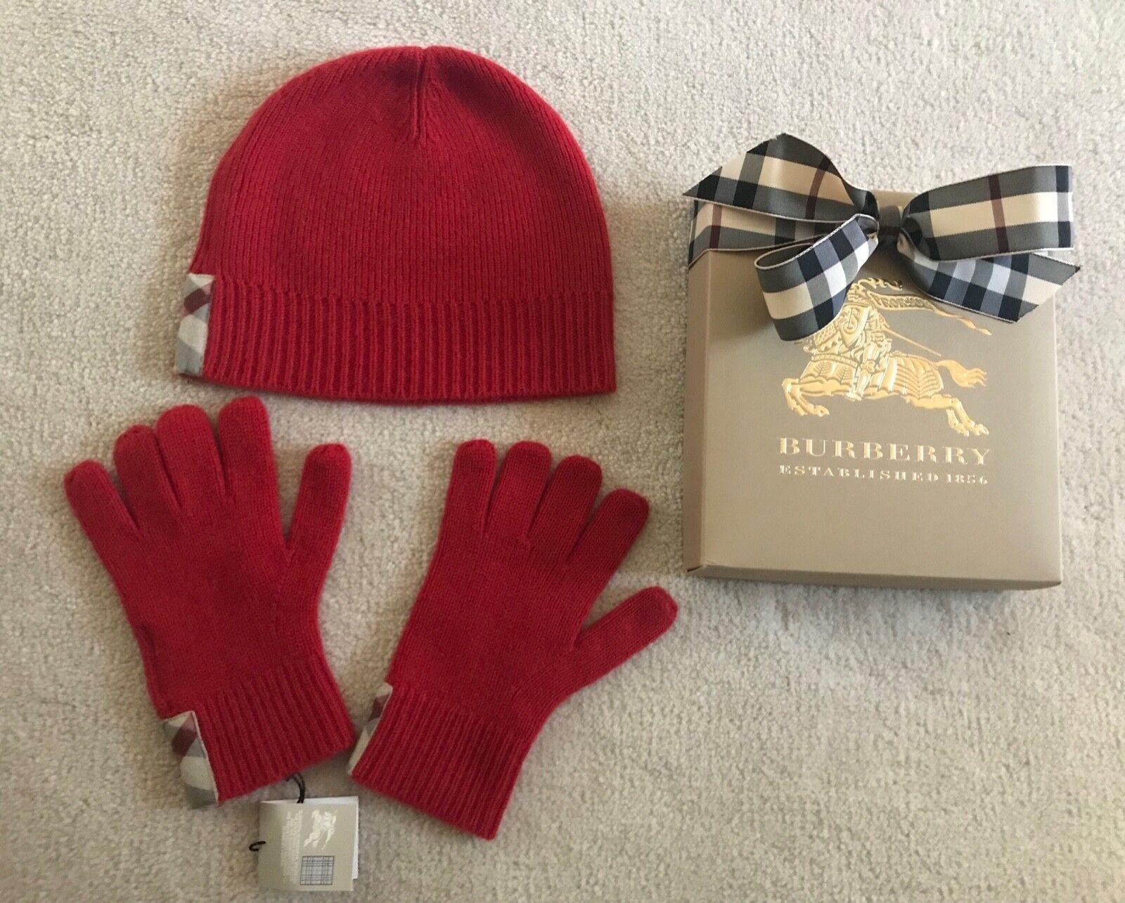 f3b02e993fb NWT BURBERRY Children Girls Boys Red Cashmere Checks Beanie   Gloves Set Sz  M L