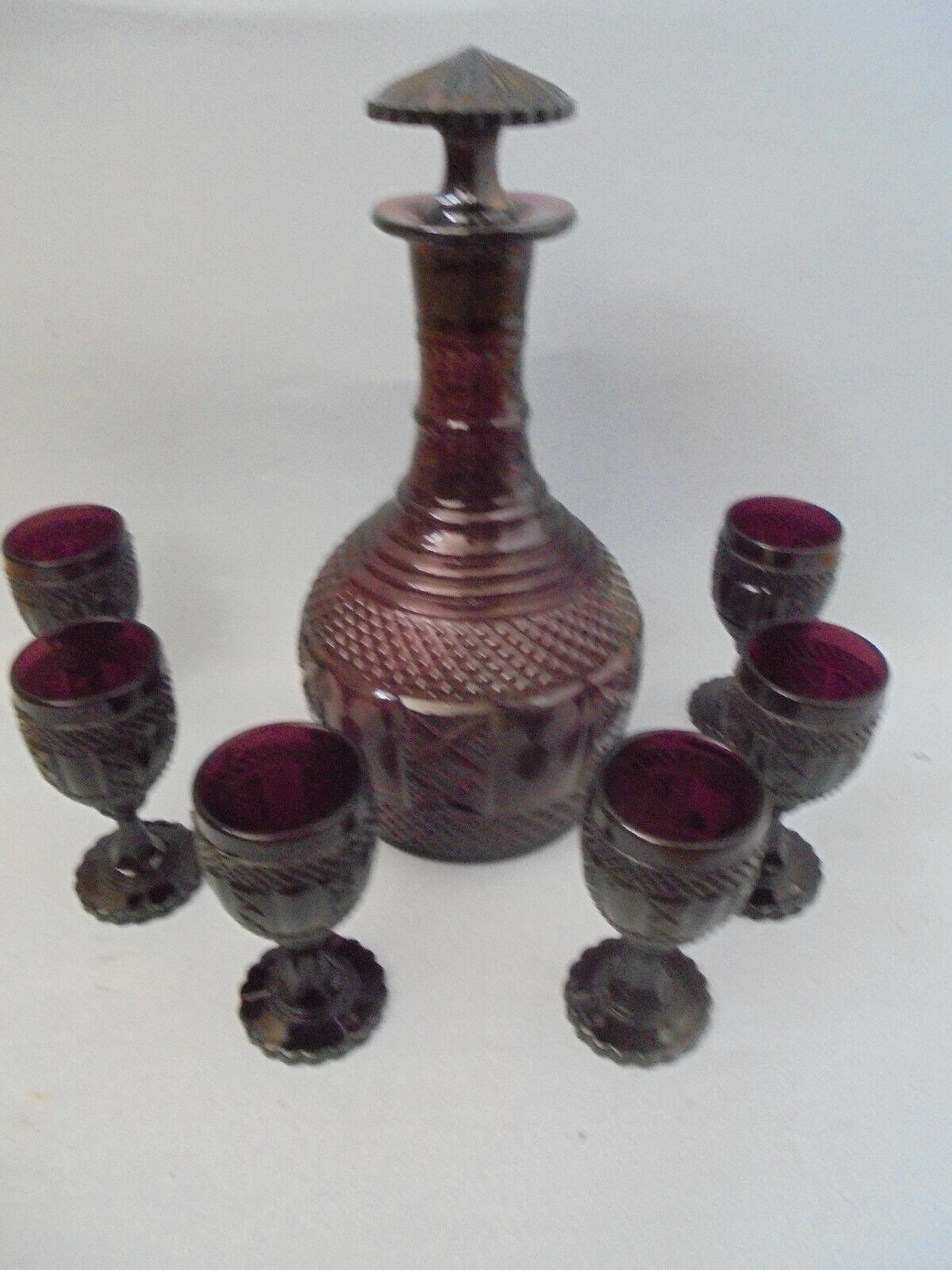 30202 carafe + 6 verres Moulé 10 cm Amethyst Country Style Style Maison de campagne