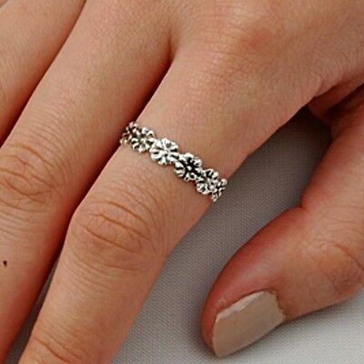 .925 Sterling Silver Ring size 9 Flower Midi Knuckle Rose Fashion Ladies New p52