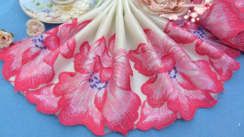 """7/""""*1Y Embroidered Floral Tulle Lace Trim~Beige+Red+Pink+White~Romantic Lover~"""