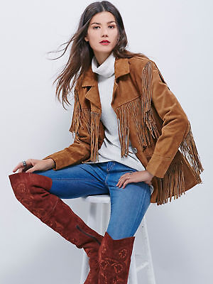 Ladies Brown Premium Suede Leather Western Women Fringe Jacket