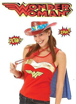 Official Wonder  Woman Top /& Cape Fancy Dress Outfit 12-14 Hen Party Ladies