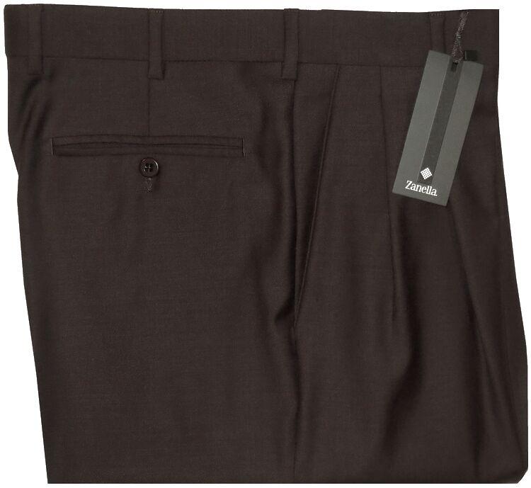 NWT ZANELLA ITALY BENNETT DARK BROWN SUPER 120'S WOOL DRESS PANTS 33