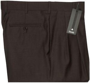 375-NWT-ZANELLA-BENNETT-DARK-BROWN-SUPER-120-039-S-WOOL-DRESS-PANTS-33