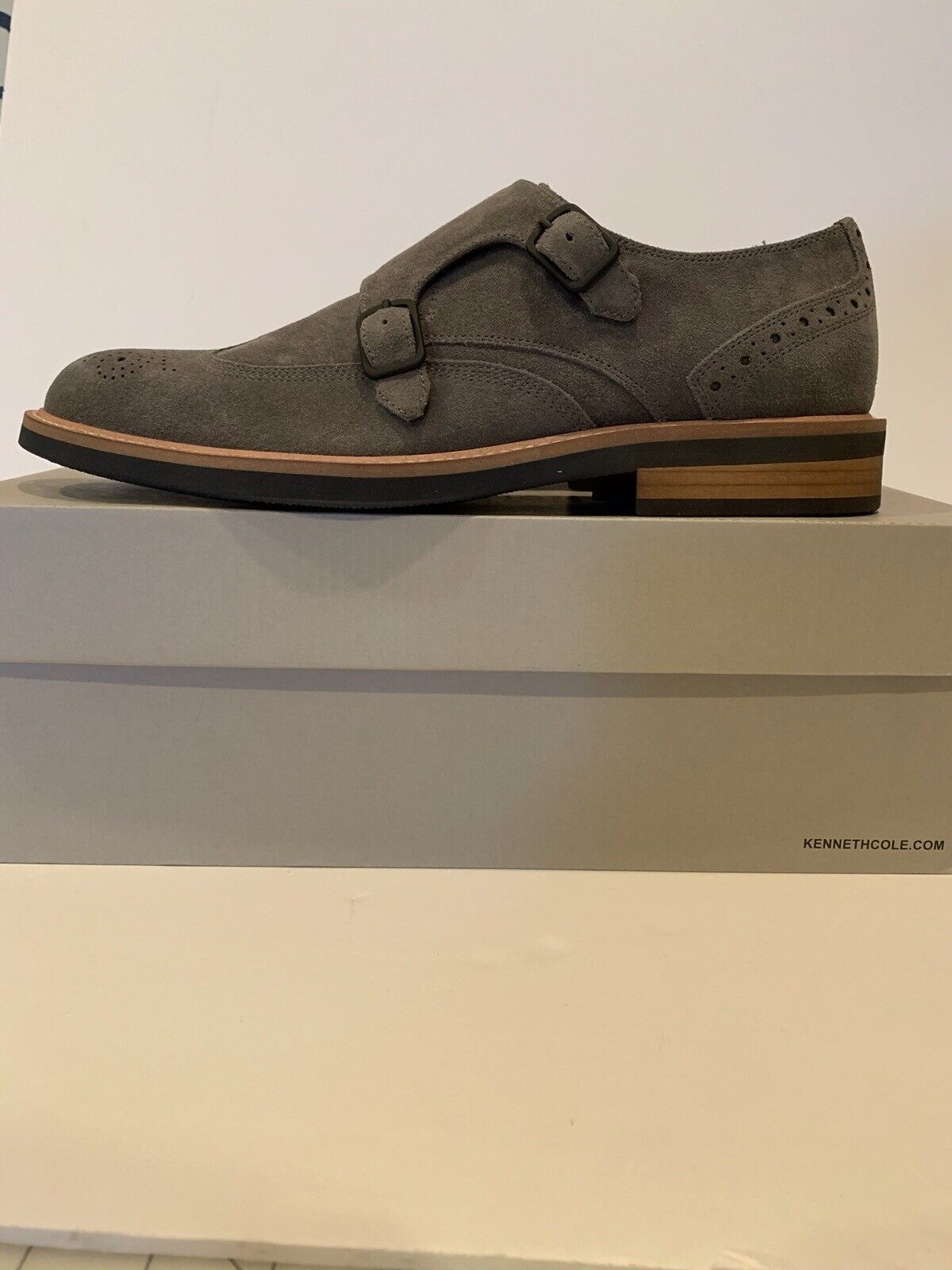 Kenneth Cole Klay Monk Grey Suede Double Monk Strap Shoes US 10.5