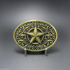 Vintage Bronze Western Star Oval Cowboy Rodeo Metal Belt Buckle