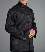 Chinese Tai Chi Kungfu Reversible Black Red Jacket Blazer 100% Silk Brocade 107