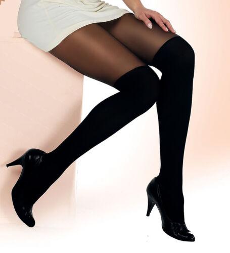 "MOCK SUSPENDER TIGHTS /"" PaLa/"" with Imitating Knee Sock Pattern"