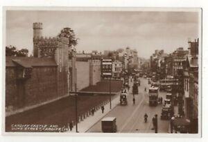 Cardiff-Castle-amp-Duke-Street-Vintage-RP-Postcard-178c