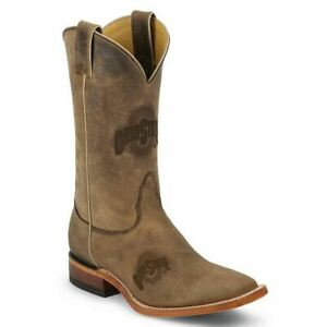 Nocona-MDOHS12-Men-039-s-Ohio-State-Brown-Cowhide-Branded-College-Boots