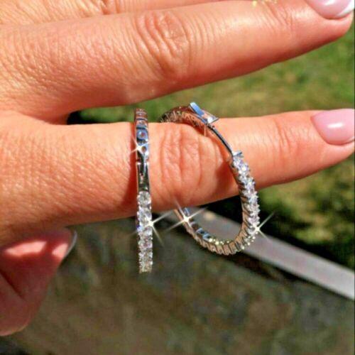Certified 2.0 Ct Inside-Out Diamond Hoop Dangle Earrings Solid 14k White Gold