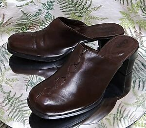Details about CLARKS BROWN LEATHER MULES SLIDES LOAFERS WORK DRESS HEELS SHOES WOMENS SZ 9.5 M