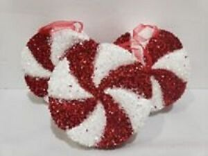 Christmas Holiday Red White Candy Cane Peppermint Ornaments Decor Set of 10