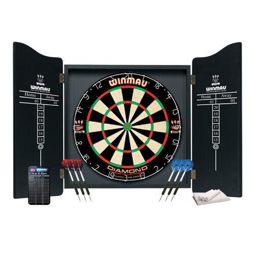 Winmau Professional Dartboard Cabinet Set Dart Board Darts Flights Bristle  Wood