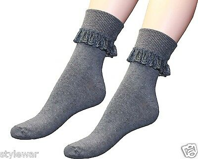NEW LADIES FRILLY ANKLE LACE SOCKS RETRO SCHOOL TRAINER GIRLS LACEY SOCKS 4-6
