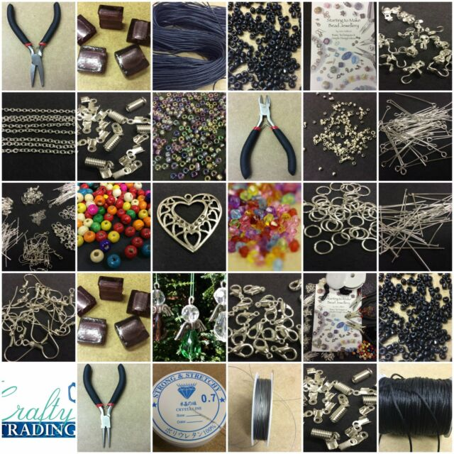 Large Jewellery Making Starter Kit inc Tools,Book, Findings,Beads FREE Angel Kit