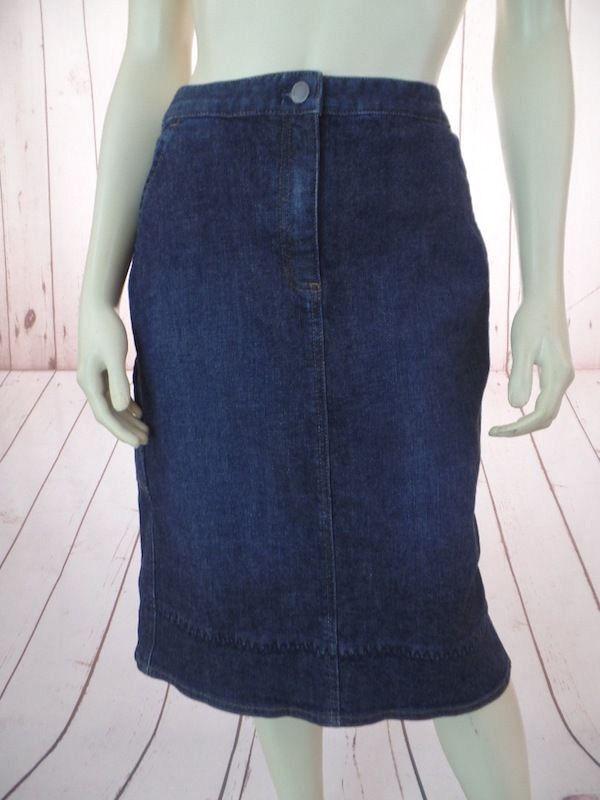 J Jill Stretch Skirt 10 Blau Wash Cotton Lycra Zip Button Front Pockets BOHO HOT