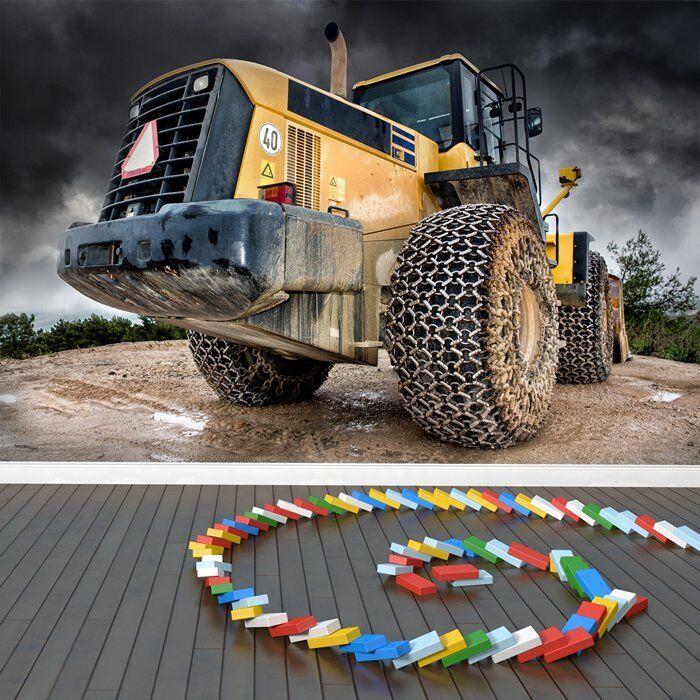 Gelber Traktor Fototapete Bau Tapete Jungen Schlafzimmer Haus Dekor