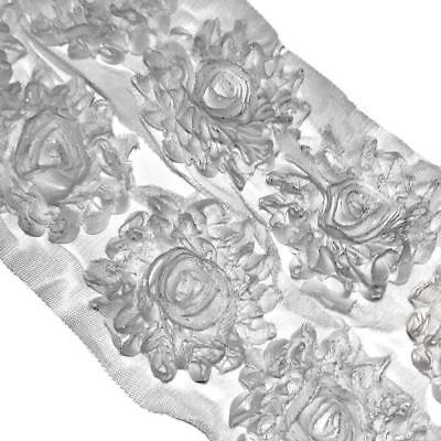 "3 flowers Lavender glitter ruffle 3/"" shabby chiffon rose trim flowers DIY"