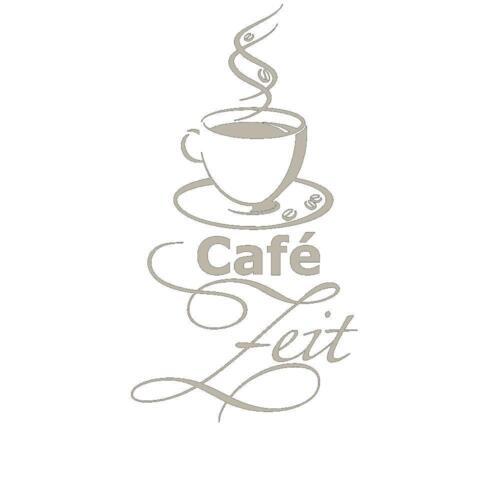 Wandtattoo Zeit für Café mit Kaffeetasse und Kaffeebohnen von DESIGNSCAPE®