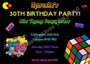 Image Is Loading Personalised 80 039 S EIGHTIES Party Invitations 18th