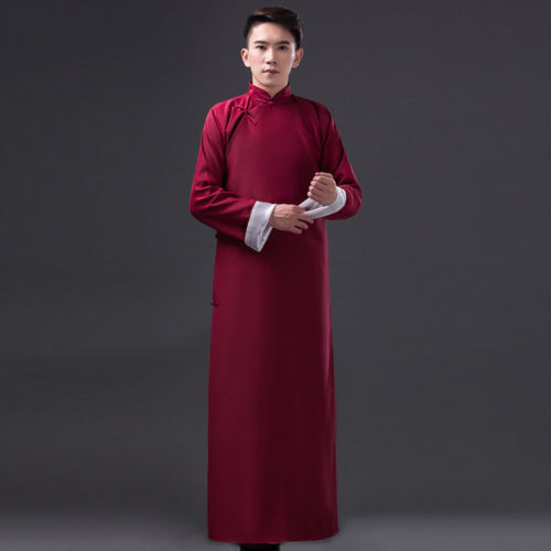 New Chinese Ancient Mandarin Robe Long Gown Ip Man Costume Stage Dress Robes