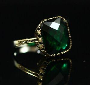 925-Sterling-Silver-Handmade-Gemstone-Turkish-Emerald-Ladies-Ring-Size-7-9