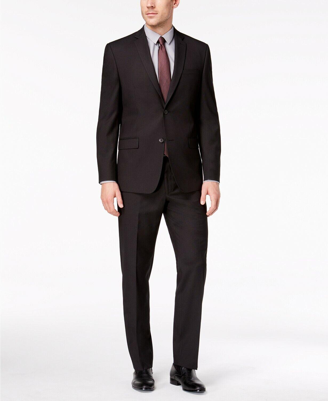 851 Marc New  York 40R Hombre Negro Classic Fit 2 Pieza Traje Chaqueta Pantalones Con Textura  ¡no ser extrañado!