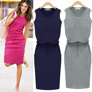Womens Fashion Summer Sleeveless Evening Party Cocktail Casual Short Mini Dress