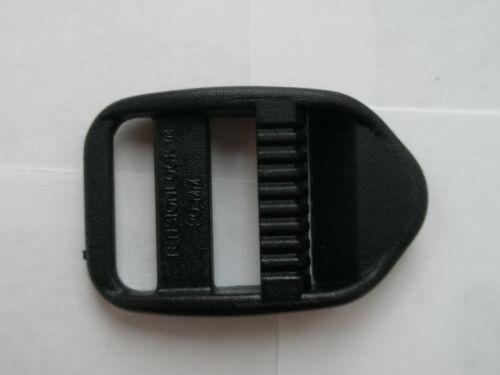 2 X BLACK PLASTIC STRAP TENSION LOCKS FOR 20MM WIDE WEBBING