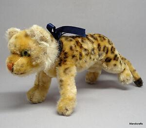 Steiff Leopard Running Mohair Plush 17cm 7in 1956 -61 Glass Eyes Vintage no ID