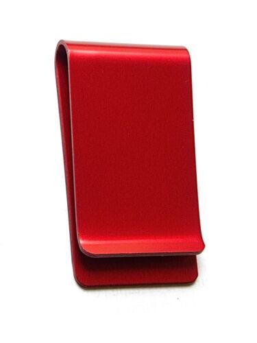argent aluminium anodisé rouge personnalisation 1 ou 2 faces pince à billets
