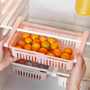 US-Fridge-Drawer-Refrigerator-Organizer-Kitchen-Rack-Adjustable-Storage-Hot